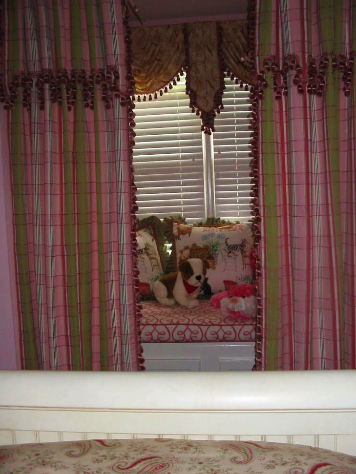After Girl's Room Sitting Area, Window Treatments, Pillows.