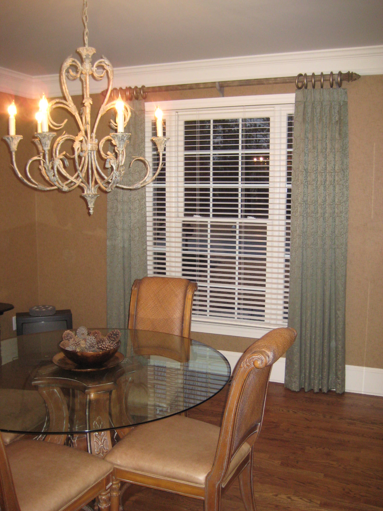 Dining Room - Beautiful fabric window treatments & hardware compliment & finish off this lovely Dining Room.