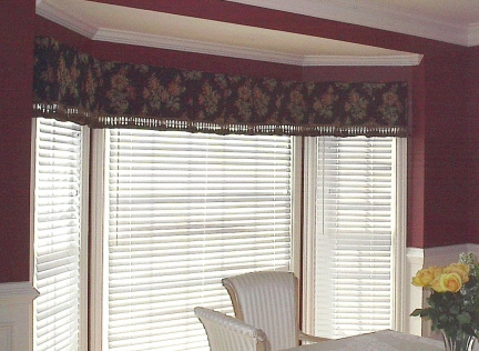Dining Room - Tailored Box Pleat treatment w/trim