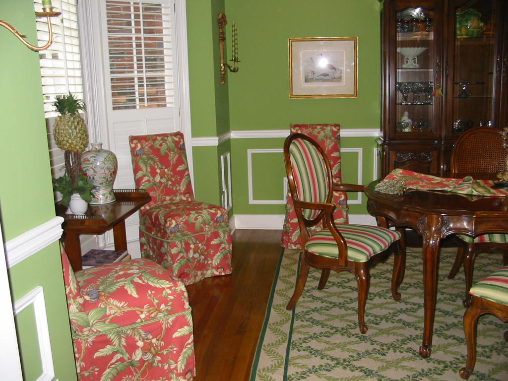 Dining Room - Upholstered chairs, Slipcovered Parson chairs.