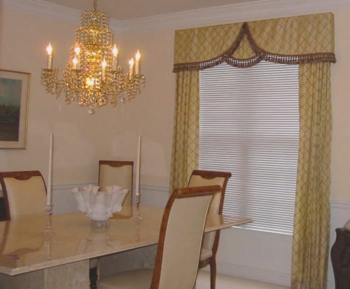 Dining Room - Elegant Overlay treatment w/trim, etc.