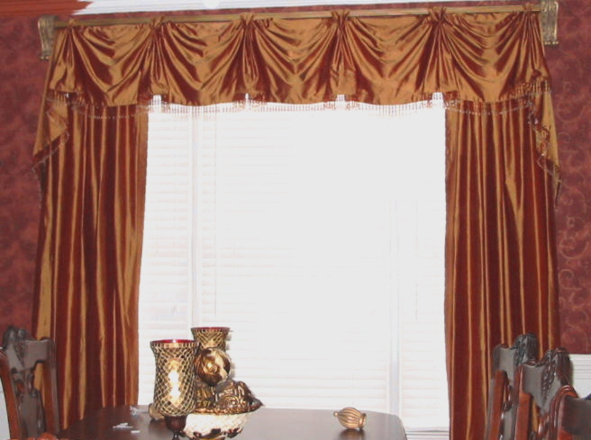 Dining Room - Beautiful Silk window treatments w/beads, etc.