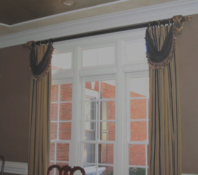 Dining Room - Tailored Panels w/swags and trim, etc.