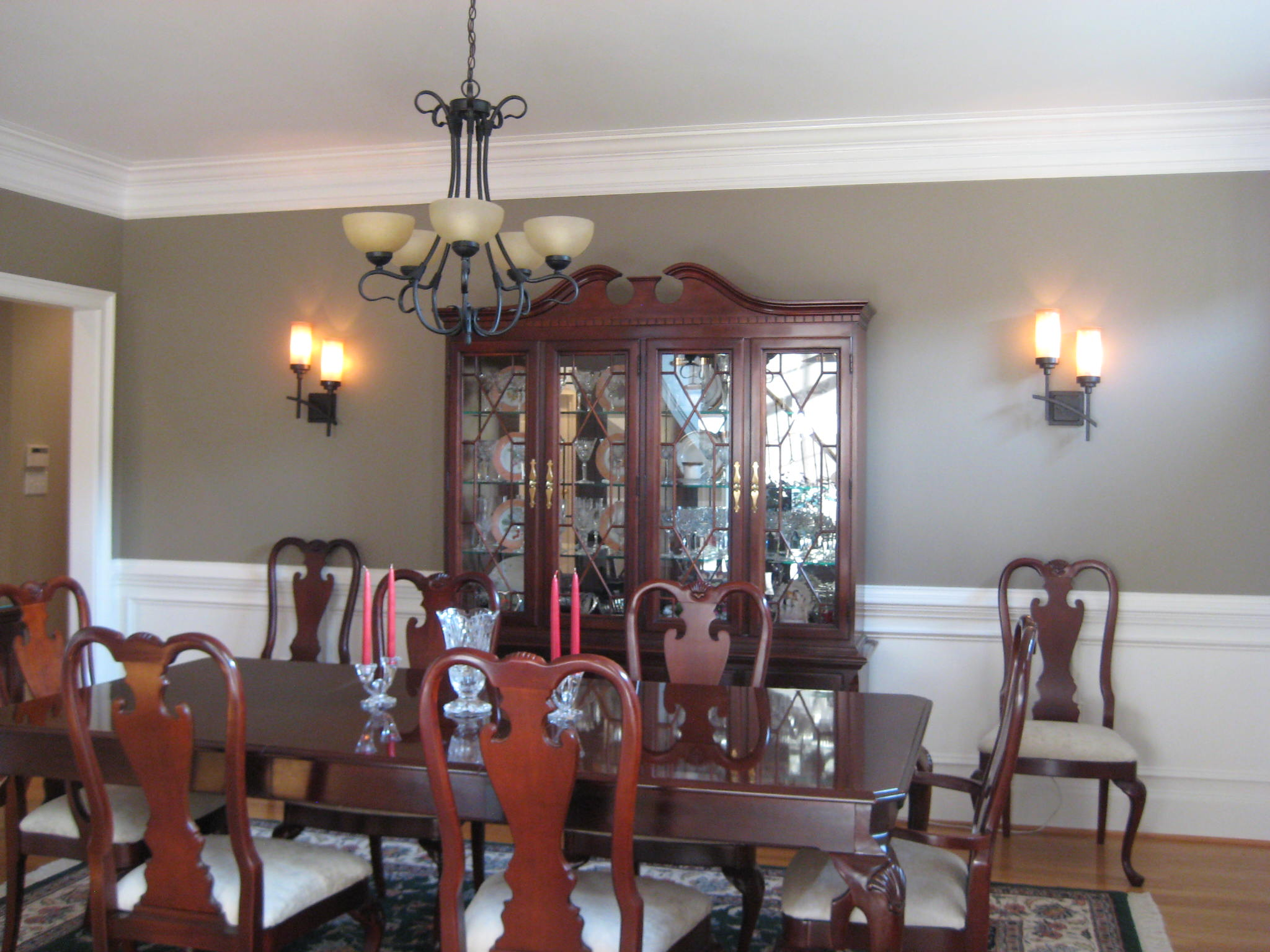Dining Room adding light sconces with upholstered seats and more.