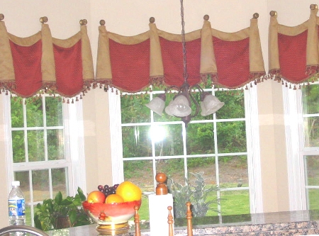 Kitchen - Lovely Swags w/bells hung on swagholders, etc.