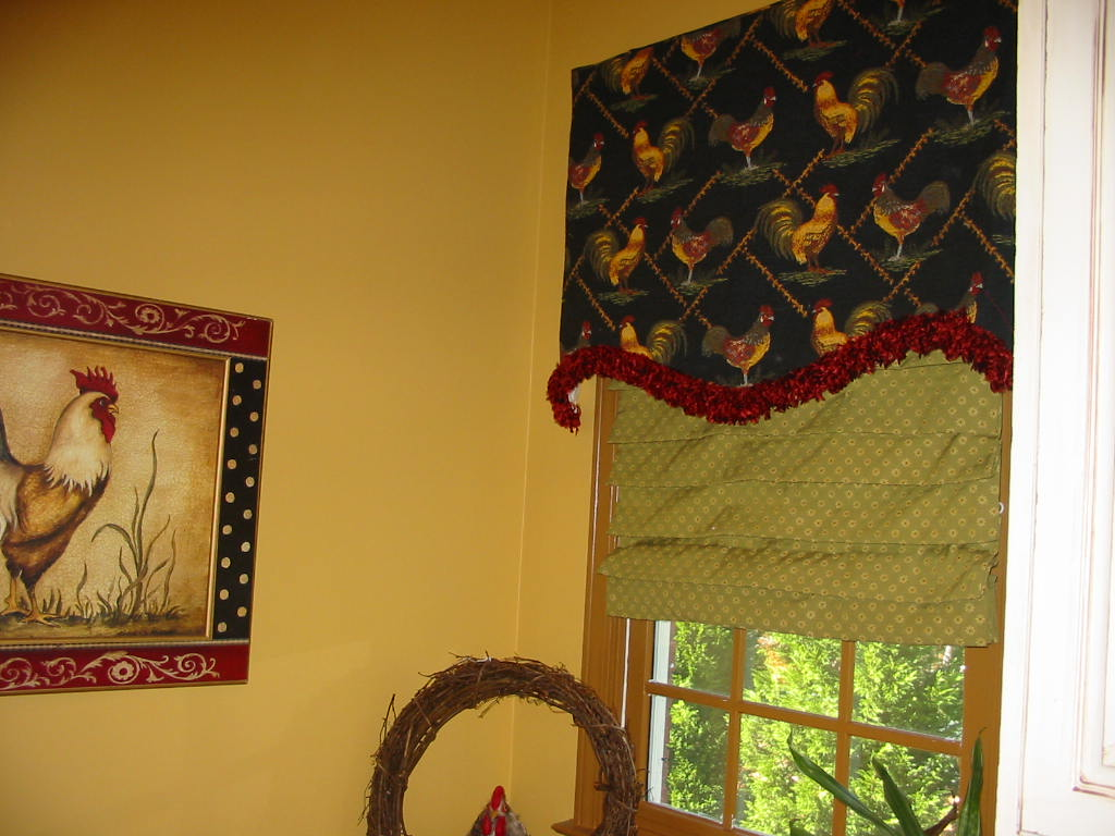 Laundry Rm. - Rooster feathered trim top treatment w/shade.