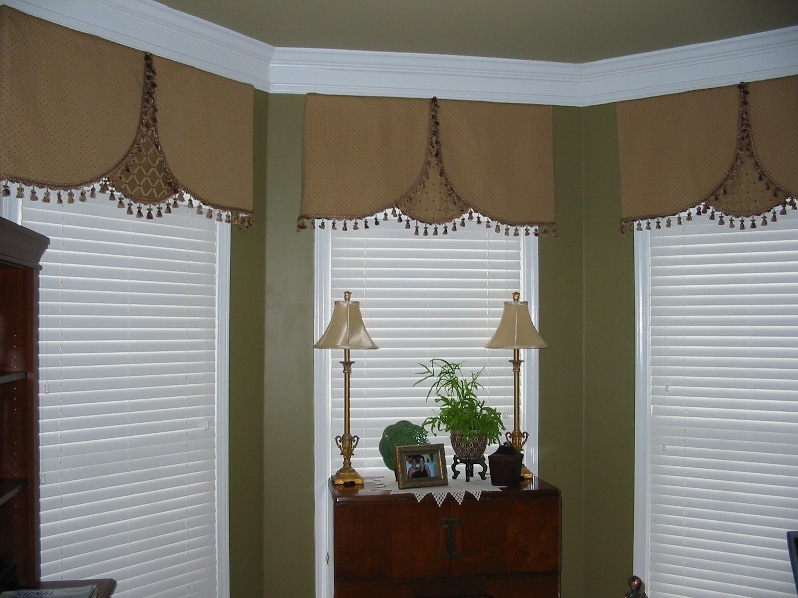 Living Room - Office w/ Lovely Overlay Window Treatment w/Trim