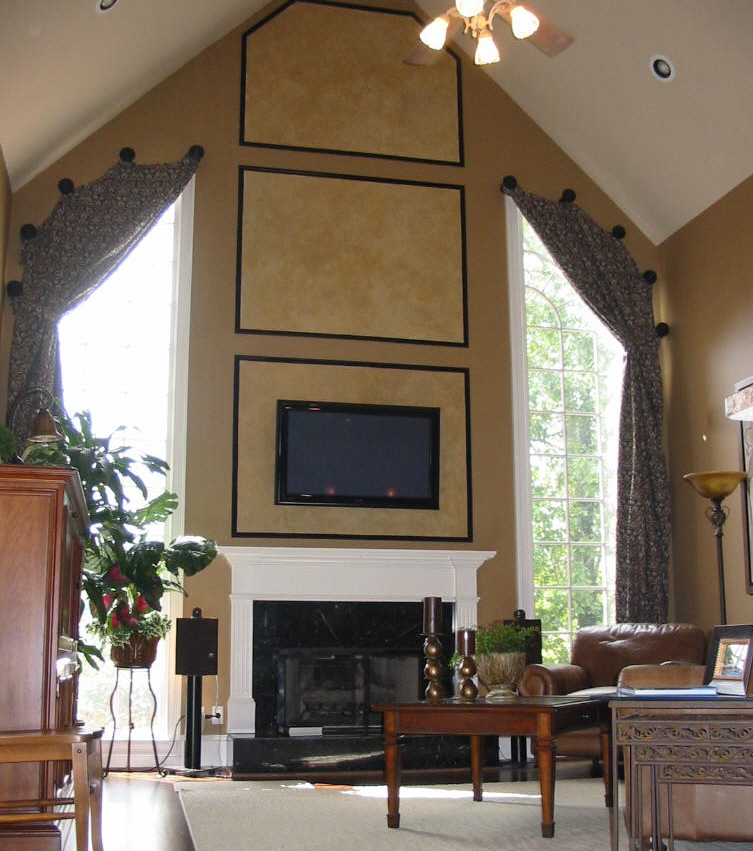 Family Rm. - Window Treatments w/TV mounted over Fireplace