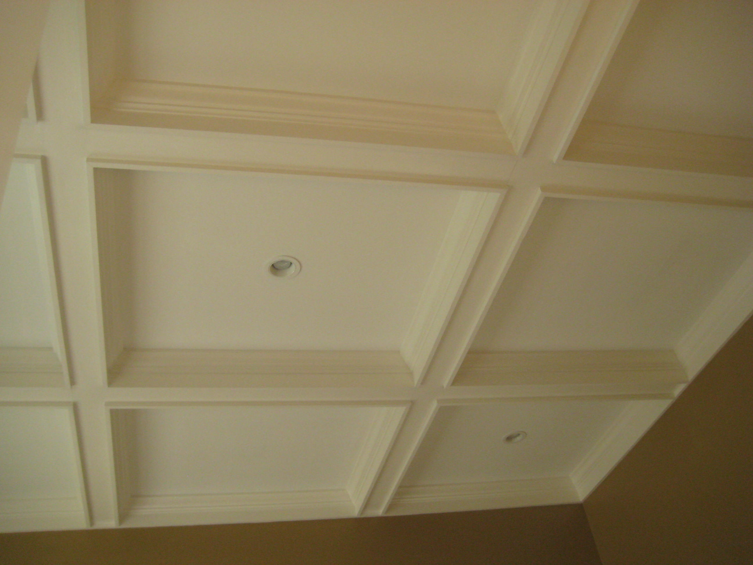 Remodel Living Room with coffered ceiling and additional ceiling lighting.